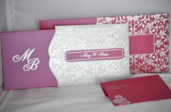 Beach theme pink & silver invitation On Sale (Set of 25), Unique wedding