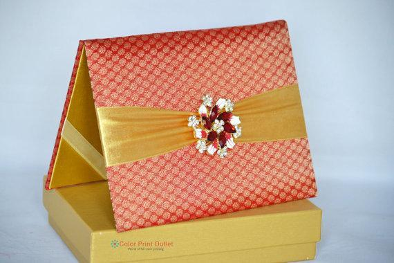 Red Folio Invitation with Brooch