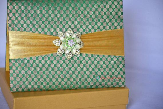 Green Folio Invitation with Brooch