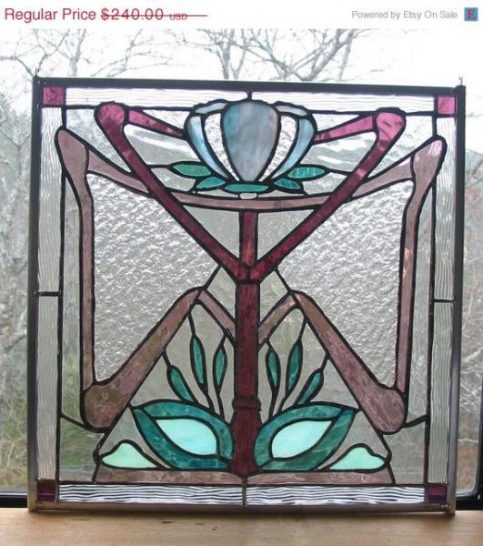 Sale Stained Glass Panel Art Deco Style Lotus Flower, in Blue, Mauve, Green and
