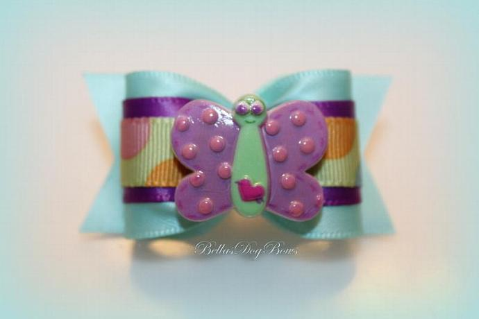 7/8 Dog Bow with Butterfly Button  ~ Aqua