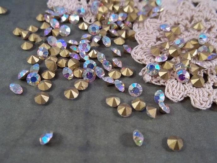 Clear AB SS10 Pointy Back Crystal Rhinestones