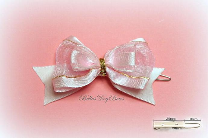 Soft Pink Organza Pet Bow with Clip Attached