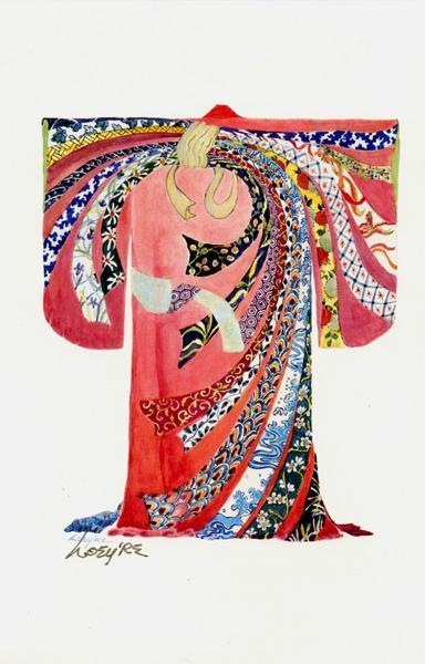 """Kimono, Japanese, """"Dried Abalone"""",  Print of my original kimono painting,"""