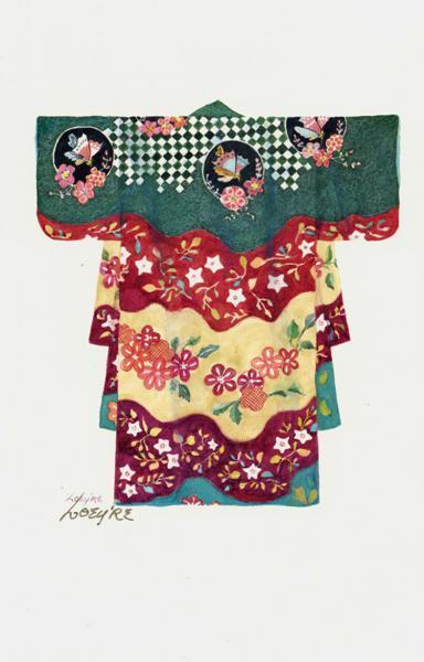 Japanese Kasode archival paper print 7x9. 13-18 century design