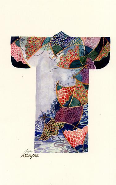 Fish nets on kimono, print, signed