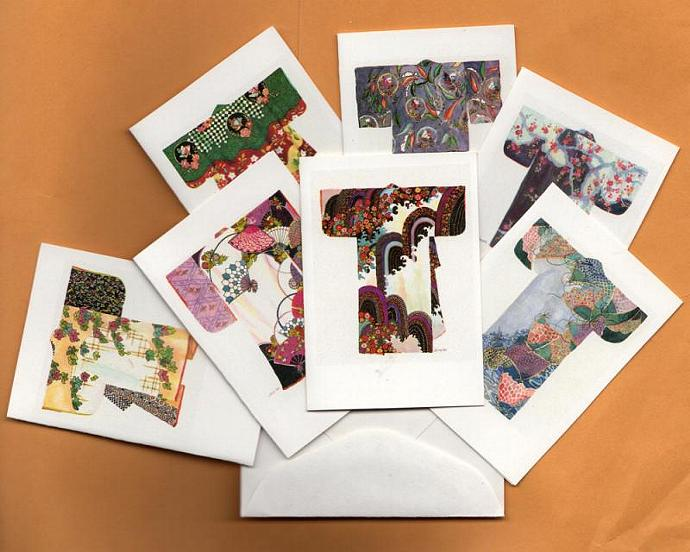 Gift cards, Japanese, kimonos, archival paper print 2 x 2 7/8. 13-18 century