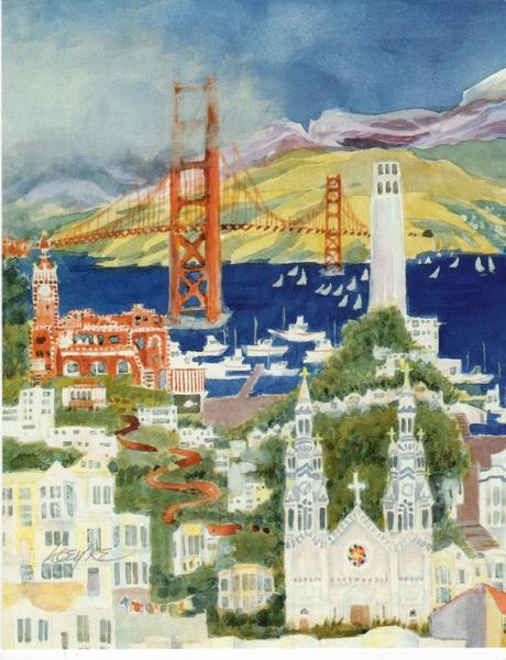 San Francisco lithograph print, tourist destinations in a collage of views, fits
