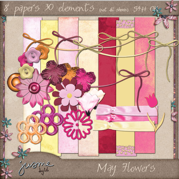 may flowers digital scrapbooking mini kit