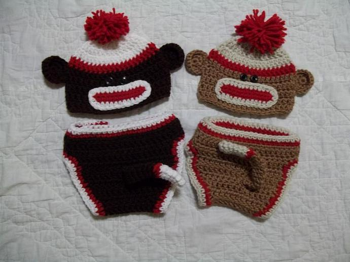 Crocheted Sock Monkey Diaper Set, Photo Prop, Baby Shower Gift