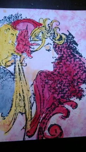 aceo card of painted lady