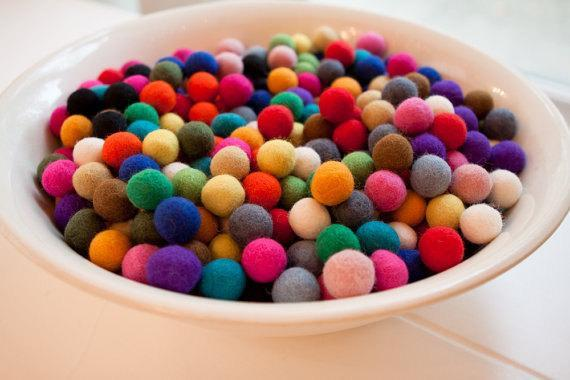 4000 pieces of 2 cm dia Multicolored Felt Balls. Handmade in Nepal. Wool balls.