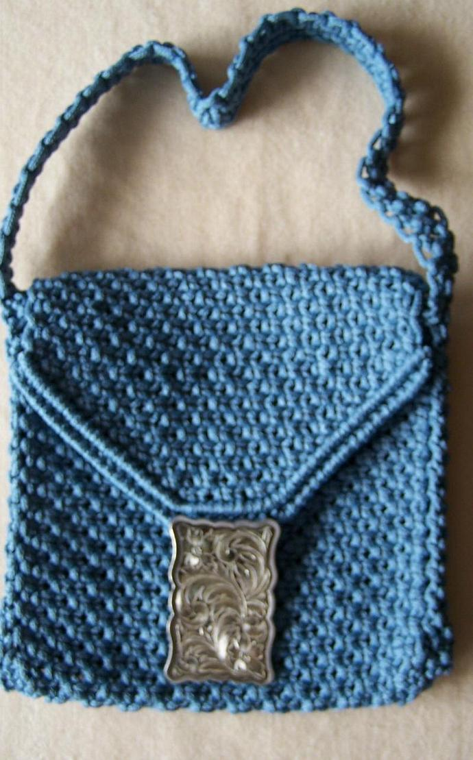 Macrame purse, shoulder purse, steel blue yarn with silver buckle, gift for
