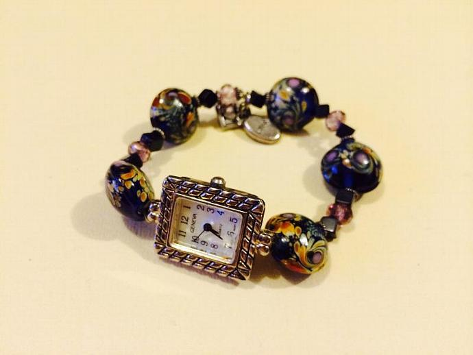 Vintage Geneva Quartz Watch with Beaded Band in Blue