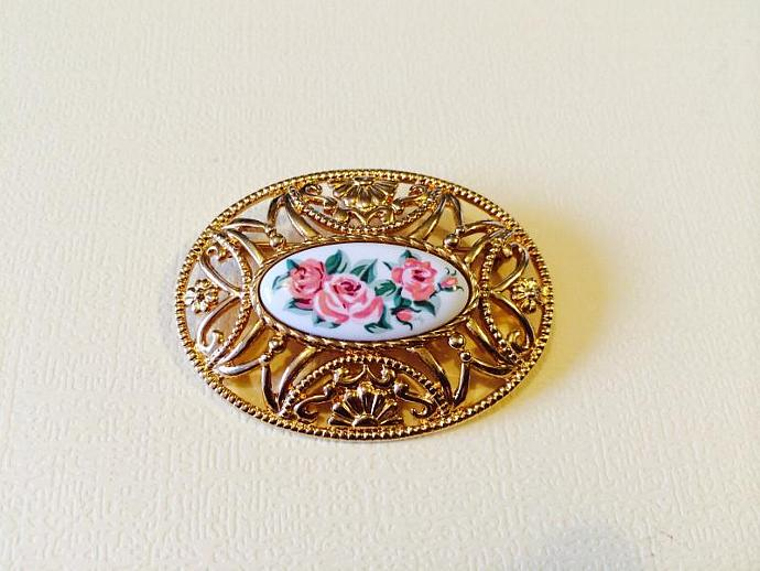 Gold Tone Filigree Brooch with Hand Painted Enamel Center