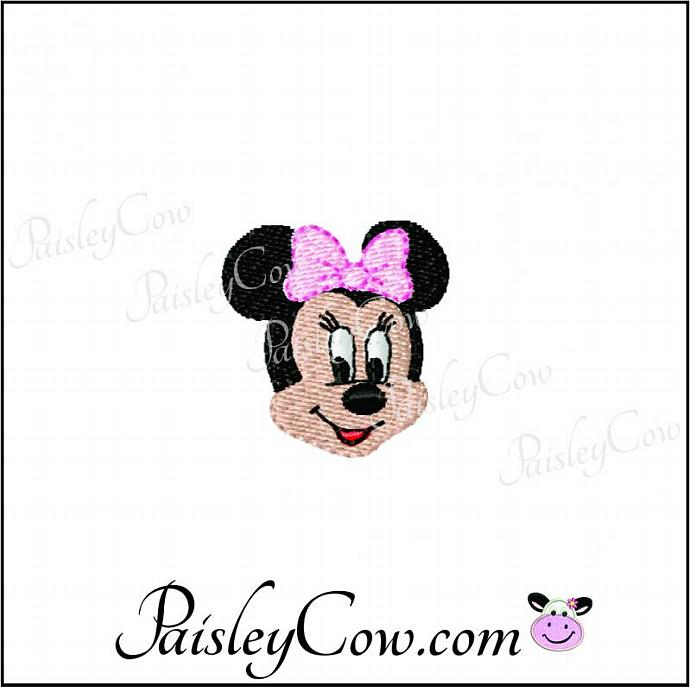 Minnie Mouse Face Head Applique And Fill Stitch Paisleycow