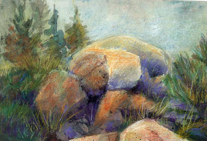 Running Springs Rocks painting, matted, no frame