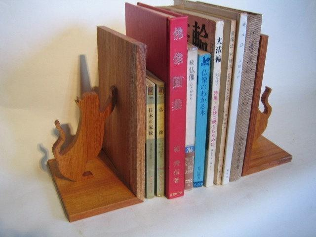 Free Shipping! Beautiful Kitty Cat Book Ends made from Japanese Timber Great