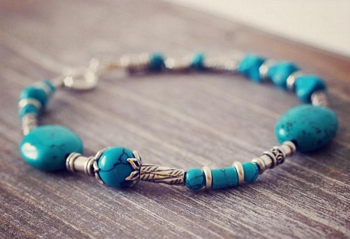 OOAK Sterling Silver Turquoise Bracelet Evil Eye