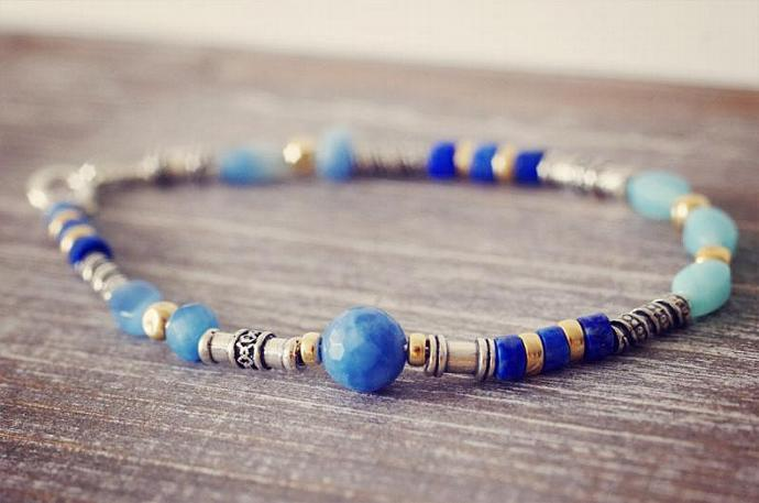 OOAK Sterling Silver Ethnic-Inspired Blue Gemstone Bracelet