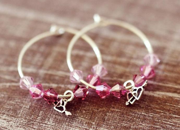 Silver Hoop Earrings - Pink Swarovski Crystal Beads, Sterling Silver Two Hearts