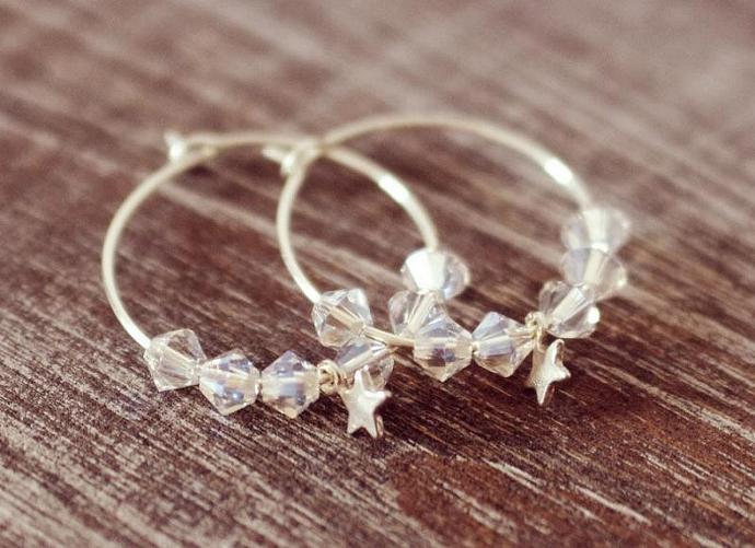 Crystal Moonlight Silver Hoop Earrings - Moonlight Swarovski Crystal Beads,