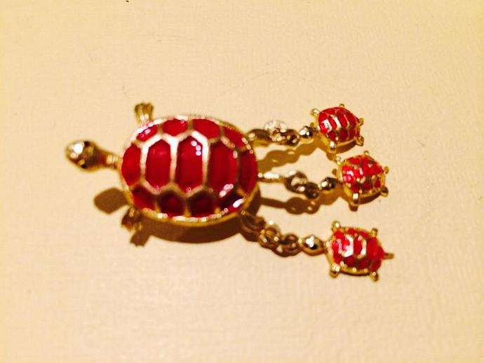 Red and Gold Tone Turtle Brooch