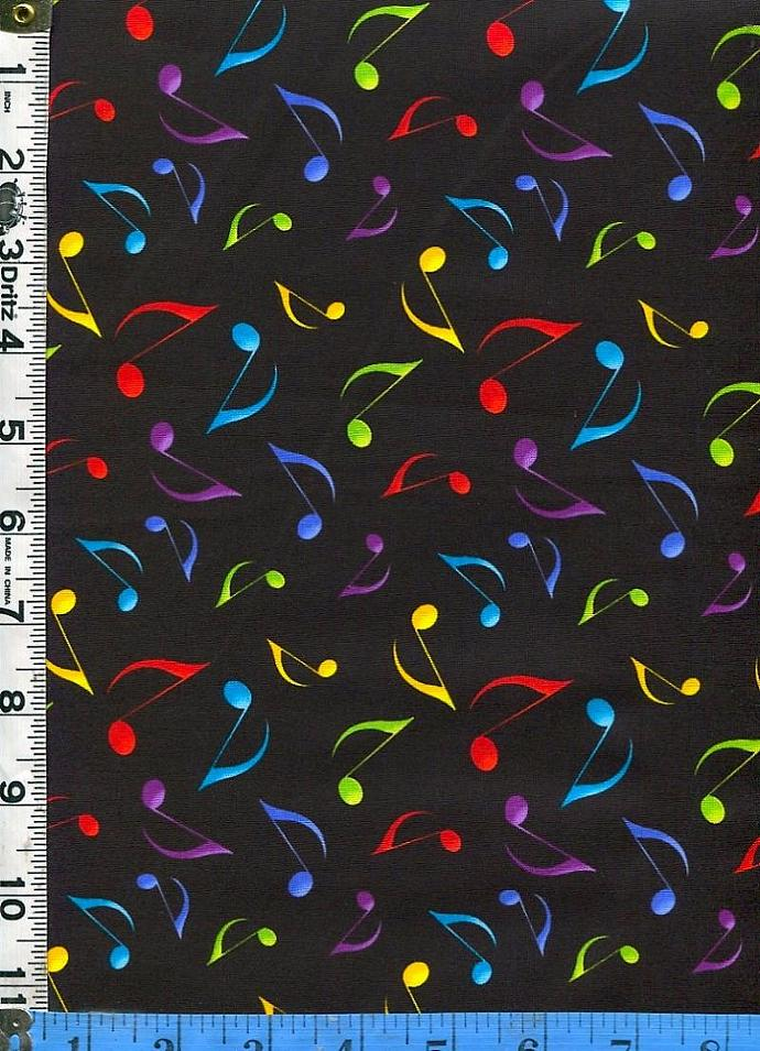 Fabric Timeless Rainbow Music Notes On Black By