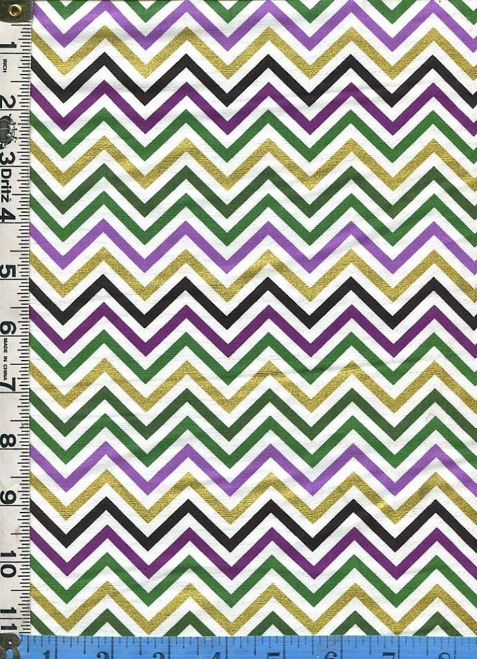 Fabric Kaufman Mardi Gras CHEVRON Metallic | FabricSmart