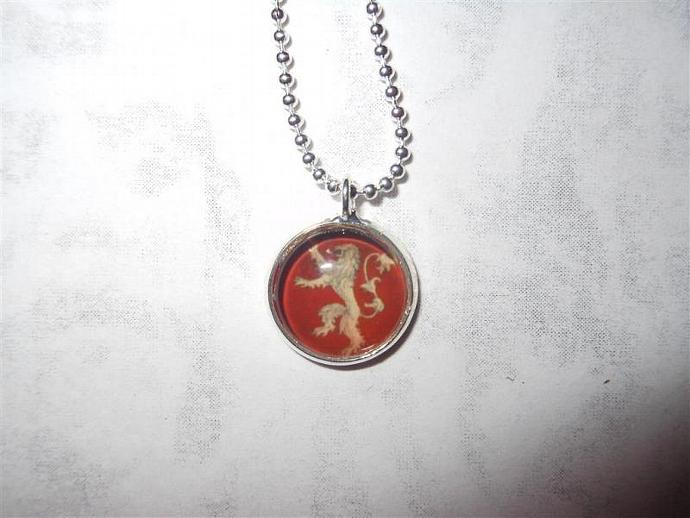 Tiny Game of Thrones inspired House Lannister pendant necklace - Song of Ice and