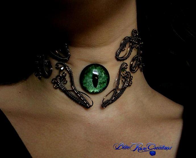 61bdc4c817f61 CUSTOM ORDER Gothic Fantasy Steampunk Choker Collar - Dragon Eye Evil Cat -  Adjustable Floating Green Moss Shadow Color Shifting - illusion