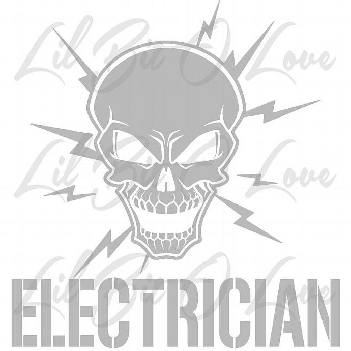 Electrician Skull With Electric Bolts Vinyl By Lilbitolove