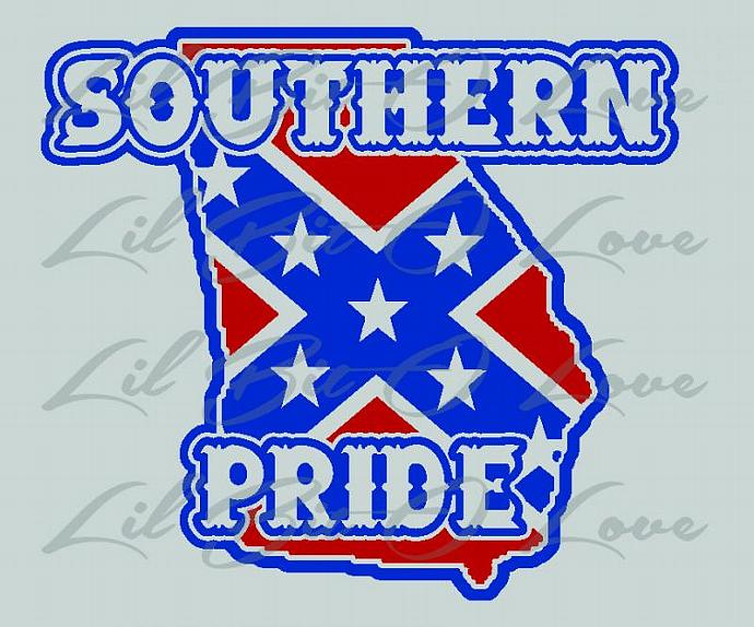 Southern Pride State of Georgia Rebel Flag Vinyl Decal Sticker in Royal Blue and