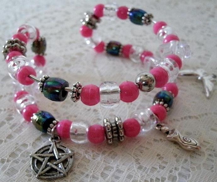 Pentacle Bracelet, pagan jewelry wiccan wicca goddess witch witchcraft pentagram