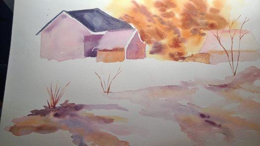 # american # barn in # winter watercolor signed
