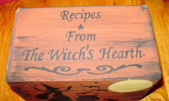 Primitive Recipe Box Witches Witch Witchcraft Halloween Folk Art Black Cats