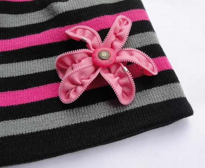 Pink Zipper Flower Brooch