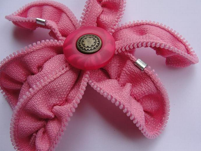 Pink Zipper Flower Brooch