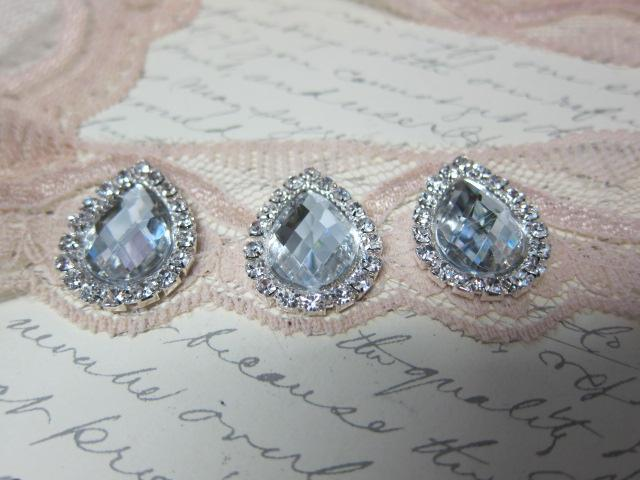 5pcs Water-drop Rhinestone Buttons - 21mm Clear