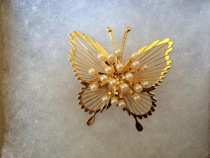 Monet Gold Tone Butterfly Brooch with Tiny Faux Pearls