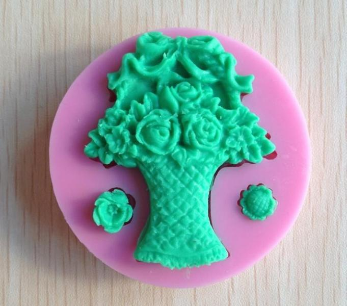 Victorian Flower Gift Basket Silicone mold Soft Silicone Mold Fondant Mat Cake
