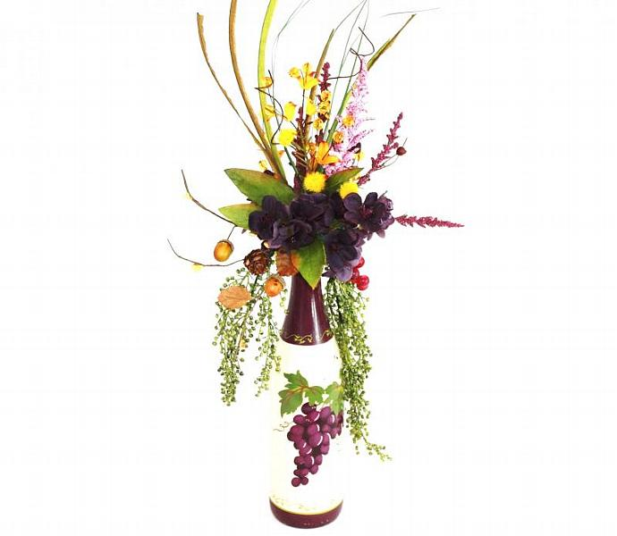 Flower Arrangements In Wine Bottles: Silk Flower Arrangement In Recycled Wine By Patiquefloral