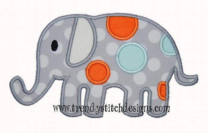 Spotted Elephant Applique Embroidery Design