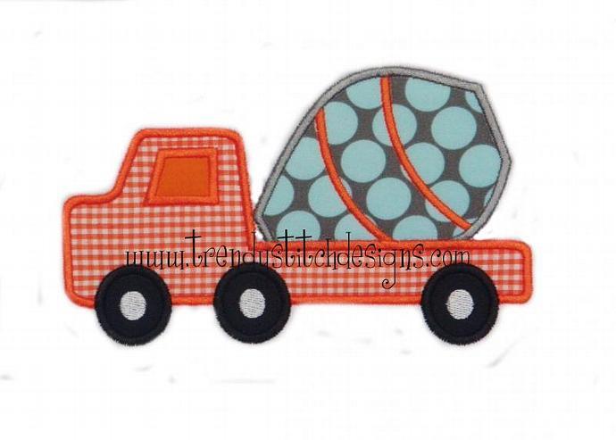 Cement Truck Applique Machine Embroidery Design
