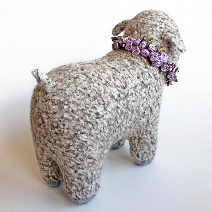 Felted Knit Tan Tweed Lamb. Felted Wool Soft Sculpture. Stuffed Toy Animal. Lamb