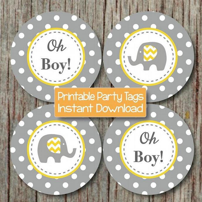 Oh Boy Baby Shower Cupcake Toppers by bumpandbeyonddesigns on Zibbet