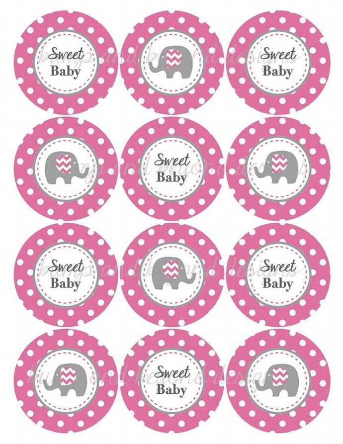 Baby Shower Cupcake Toppers Pink Grey Bumpandbeyonddesigns