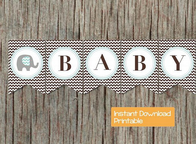 Blue Brown Chevron Elephant Baby Shower Decorations Printable Baby Shower Banner