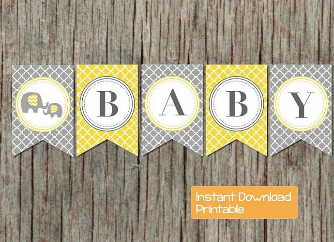 Baby Shower Banner Yellow Grey Quatrefoil Elephant Printable DIY pdf Sweet Baby