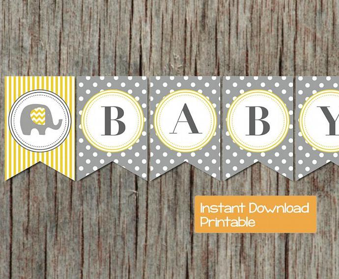 image regarding Free Printable Baby Shower Banner called Printable Child Shower Banner Gray Yellow Elephant Do-it-yourself Oh Youngster Boy Lady Child Shower Get together Decorations Components Banner 029